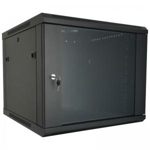 """Szafa rack 19"""" 9U 600x600, wisząca, z szybą, jednosekcyjna, czarna (Base Link BL-SRW1909660SM-1C)"""
