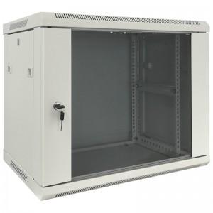 """Szafa rack 19"""" 9U 600x600, wisząca, z szybą, jednosekcyjna, szara (Base Link BL-SRW1909660SM-1S)"""