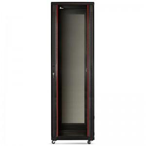 """Szafa rack 19"""" 42U 600x600, stojąca, z szybą, czarna"""