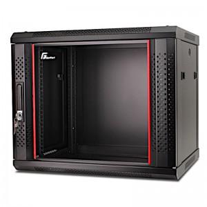 """Szafa rack 19"""" 9U 600x600, wisząca, z szybą, jednosekcyjna, czarna (Getfort WGF09-66EH-WGB)"""