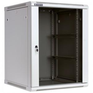 """Szafa rack 19"""" 15U 600x600, wisząca, z szybą, jednosekcyjna, szara (Linkbasic WCB15-66-BAB-C)"""