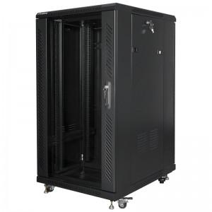 """Szafa rack 19"""" 22U 600x800, stojąca, z szybą, czarna Lanberg FF01-6822-12B"""