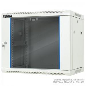 """Szafa rack 19"""" 6U 600x450, wisząca, z szybą, jednosekcyjna, szara (Start.Lan STLWMC-6U-645-GSG-C)"""