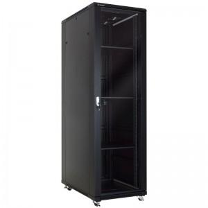 """Szafa rack 19"""" 47U 600x1000, stojąca, z szybą, czarna (Linkbasic NCB47-610-BAA-C-STD)"""