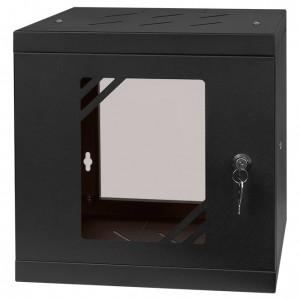 """Szafa rack 10"""" 6U 295x300, wisząca, z szybą, jednosekcyjna, czarna (Stalflex)"""