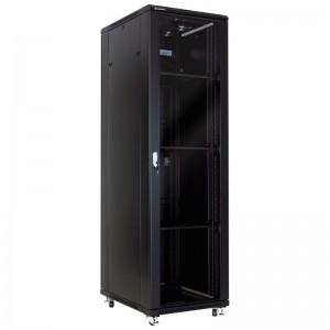 """Szafa rack 19"""" 42U 600x800, stojąca, z szybą, czarna (Linkbasic NCB42-68-BAA-C)"""