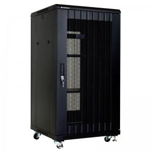 """Szafa rack 19"""" 22U 600x600, stojąca, perforowana, czarna (Linkbasic NCB22-66-IFA-C)"""
