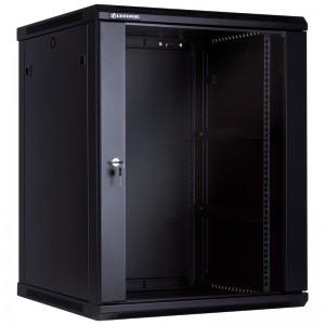 """Szafa rack 19"""" 15U 600x600, wisząca, z szybą, jednosekcyjna, czarna (Linkbasic WCB15-66-BAA-C)"""