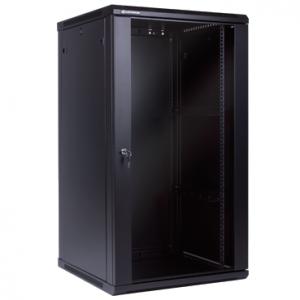 """Szafa rack 19"""" 22U 600x600, wisząca, z szybą, jednosekcyjna, czarna (Linkbasic WCB22-66-BAA-C)"""