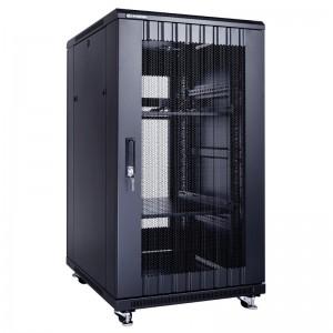 """Szafa rack 19"""" 22U 600x800, stojąca, perforowana, czarna (Linkbasic NCB22-68-IFA-C)"""