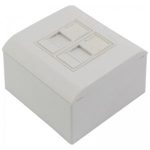 Gniazdo modularne na 2 moduły keystone, natynkowe, z zaślepką przeciwkurzową