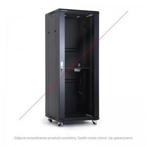 "Szafa rack 19"" 18U 600x600, stojąca, z szybą, czarna (Linkbasic NCE18-66-BAA-C)"
