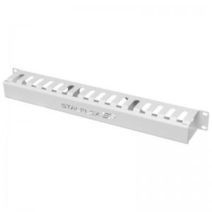 """Organizator kabli poziomy 19"""" 1U, grzebieniowy, szary (Stalflex CO19-1U-COMB-G)"""