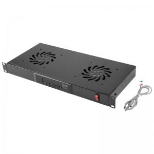 """Panel wentylacyjny 19"""" 1U, 2 wentylatory, z termostatem cyfrowym (Lanberg AK-1502-B)"""