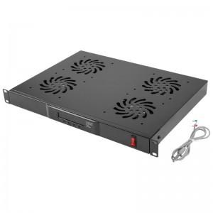 """Panel wentylacyjny 19"""" 1U, 4 wentylatory, z termostatem cyfrowym (Lanberg AK-1503-B)"""