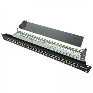 """Patch panel 24 porty STP kat. 6a RJ-45 1U 19"""" z podstawką"""