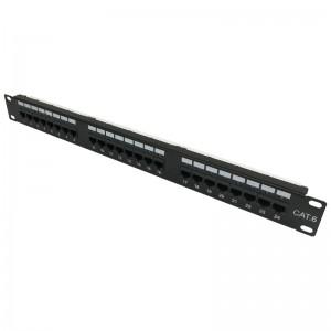 """Patch panel LED UTP 19"""" 24x RJ45 kat.6 złącza KRONE"""