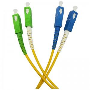 Patchcord światłowodowy jednomodowy, SC/APC-SC/PC, 9/125, LS0H, duplex, 3m (Base Link BL-D1ASCASC-3)