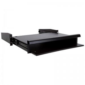 """Półka wysuwana pod klawiaturę / monitor, gł. 335mm, 2U, 19"""", czarna (Linkbasic)"""