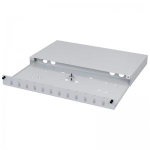 """Przełącznica światłowodowa 19"""" 1U wysuwana, 12x SC duplex / LC quad (Stalflex PPDF-19-1U-12DPX-G)"""