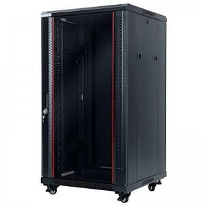 """Szafa rack 19"""" 22U 600x600, stojąca, z szybą, czarna (STLFSC-22U-66-GSB-R)"""