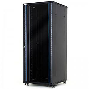 """Szafa rack 19"""" 42U 800x1000, stojąca, z szybą, czarna (STLFSC-42U-810-GSB)"""