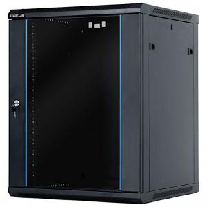 """Szafa rack 19"""" 15U 600x600, wisząca, z szybą, jednosekcyjna, czarna (STLWMC-15U-66-GSB-C)"""