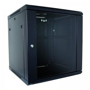 """Szafa rack 19"""" 12U 600x450, wisząca, z szybą, jednosekcyjna, czarna (Base Link BL-SRW1912645SM-1C)"""