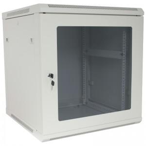 """Szafa rack 19"""" 12U 600x450, wisząca, z szybą, jednosekcyjna, szara (Base Link BL-SRW1912645SM-1S)"""