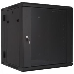 """Szafa rack 19"""" 12U 600x540, wisząca, z szybą, dwusekcyjna, czarna (Base Link BL-SRW191254SM-2C)"""