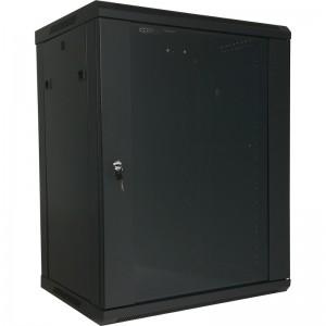 """Szafa rack 19"""" 15U 600x450, wisząca, z szybą, jednosekcyjna, czarna (Base Link BL-SRW1915645SM-1C)"""