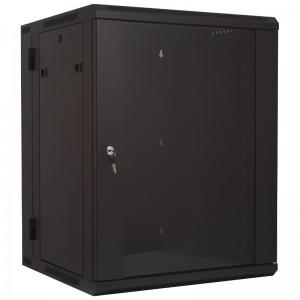 """Szafa rack 19"""" 15U 600x540, wisząca, z szybą, dwusekcyjna, czarna (Base Link BL-SRW191554SM-2C)"""