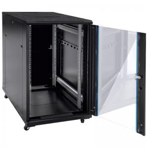 """Szafa rack 19"""" 15U 600x600, stojąca, z szybą, czarna (z wyposażeniem)"""