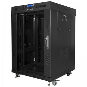 """Szafa rack 19"""" 15U 600x600, stojąca, z szybą, czarna (Lanberg FF01-6615-12BL)"""