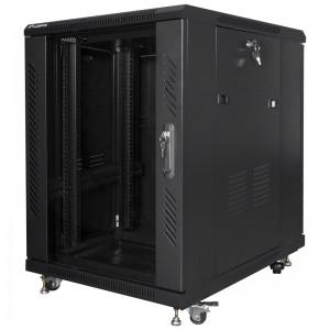 """Szafa rack 19"""" 15U 600x800, stojąca, z szybą, czarna (Lanberg FF01-6815-12B)"""