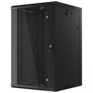 """Szafa rack 19"""" 18U 600x600, wisząca, z szybą, jednosekcyjna, czarna (Lanberg WFFA-5618-10B, szybki montaż)"""