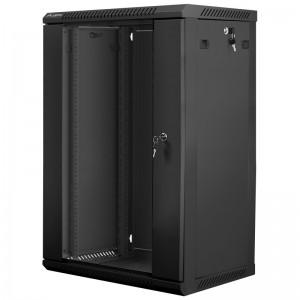 """Szafa rack 19"""" 18U 600x450, wisząca, z szybą, jednosekcyjna, czarna (Lanberg WF01-6418-10B)"""
