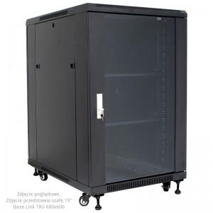 """Szafa rack 19"""" 20U 600x600, stojąca, z szybą, czarna (Base Link BL-SRS1920660SM-1C)"""