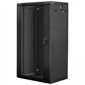 """Szafa rack 19"""" 22U 600x450, wisząca, z szybą, jednosekcyjna, czarna (Lanberg WF01-6422-10B)"""