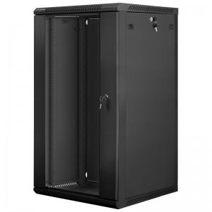 """Szafa rack 19"""" 22U 600x600, wisząca, z szybą, jednosekcyjna, czarna (Lanberg WF01-6622-10B)"""
