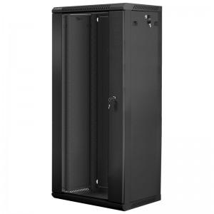 """Szafa rack 19"""" 27U 600x450, wisząca, z szybą, jednosekcyjna, czarna (Lanberg WF01-6427-10B)"""
