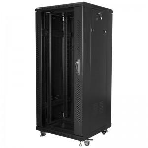 """Szafa rack 19"""" 27U 600x600, stojąca, z szybą, czarna (Lanberg FF01-6627-12B)"""