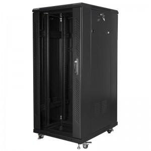 """Szafa rack 19"""" 27U 600x800, stojąca, z szybą, czarna (Lanberg FF01-6827-12B)"""