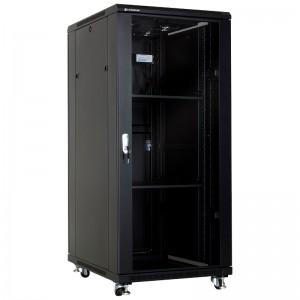 """Szafa rack 19"""" 32U 600x800, stojąca, z szybą, czarna (Linkbasic NCB32-68-BAA-C-STD)"""