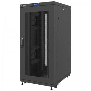 """Szafa rack 19"""" 27U 800x1000, stojąca, perforacja, czarna (Lanberg FF02-8027L-23B)"""