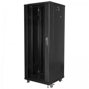 """Szafa rack 19"""" 32U 600x600, stojąca, z szybą, czarna (Lanberg FF01-6632-12B)"""