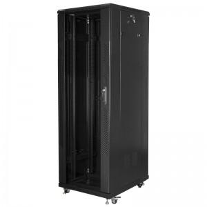 """Szafa rack 19"""" 37U 600x800, stojąca, z szybą, czarna (Lanberg FF01-6837-12B)"""