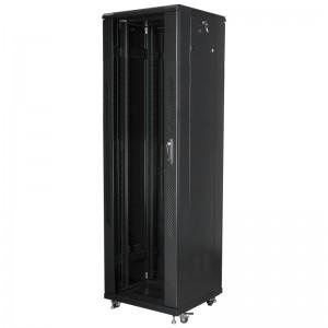 """Szafa rack 19"""" 42U 600x600, stojąca, z szybą, czarna (Lanberg FF01-6642-12B)"""