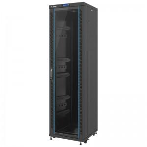 """Szafa rack 19"""" 42U 600x600, stojąca, z szybą, czarna (Lanberg FF02-6642L-12B)"""