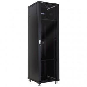 """Szafa rack 19"""" 42U 600x600, stojąca, z szybą, czarna, nośność 300kg (Linkbasic NCE42-66-BAA-C)"""